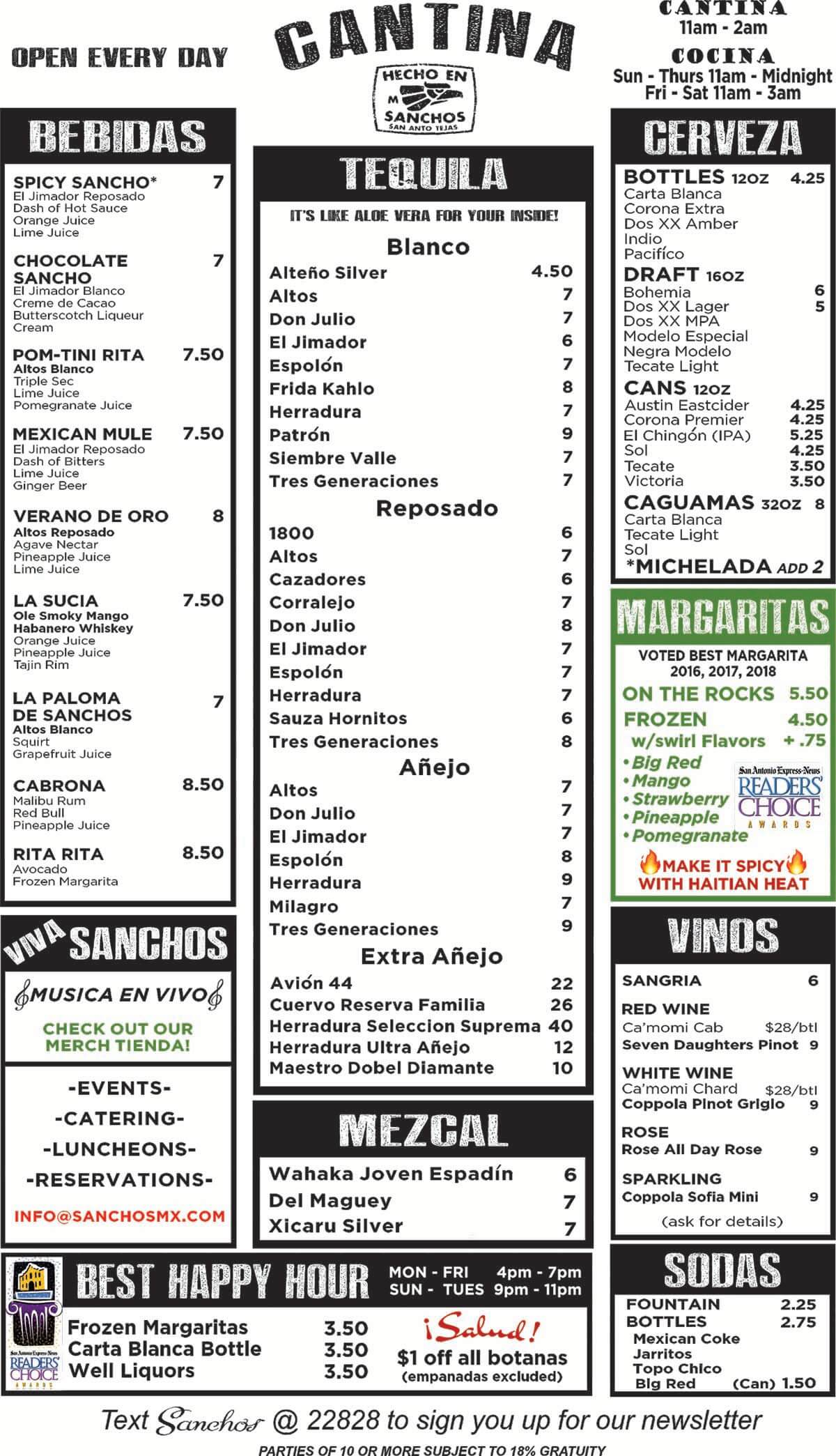 Sanchos Drink Menu 2019