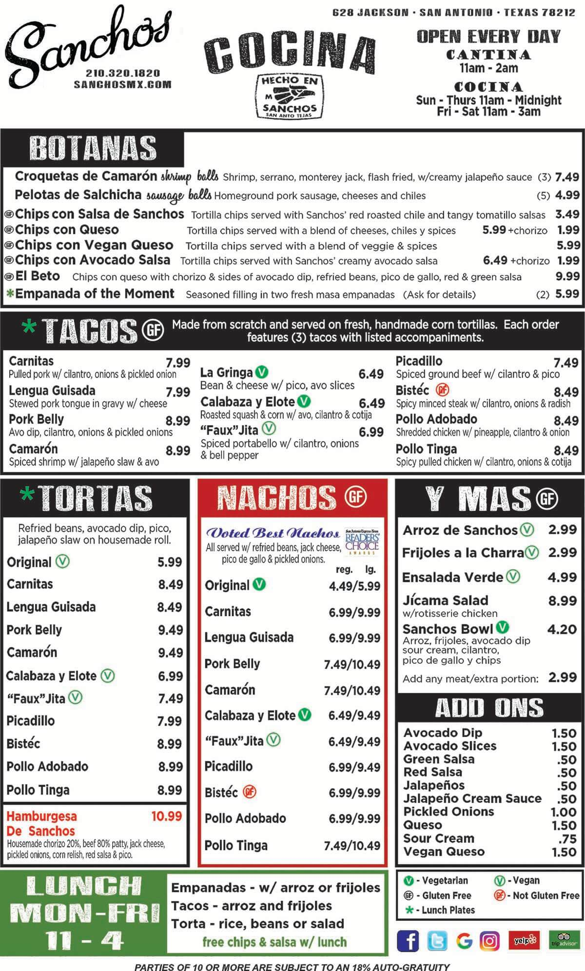 Sanchos Food Menu 2019